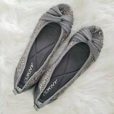 DKNY WOMEN'S SHOES SLIP ON FLATS SZ 7 GRAY SILVER SNAKE SKIN LEATHER BOWS