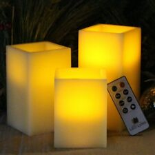 NEW BEST SQUARE FLAMELESS LED CANDLES WITH TIMER REMOTE CONTROL SET OF 3