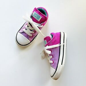 Converse All Star Toddler Girl's Lilac Bright Pink Low Top Sneakers Size 7