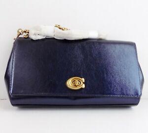 Coach 43023 Alexa Metallic Turnlock Leather Clutch / Shoulder Bag ~Metallic Blue
