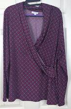 CHARTER CLUB Sz 1X Multicolored Long Sleeve V-Neck Cross Stretch Knit Blouse