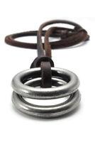 1X(Schmuck Herren Damen Halskette, Ring Anhaenger mit Braun Leder Kette, Br S5P8