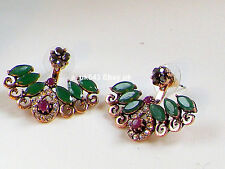 Antique Gold Earrings,Ear cuff,Ear jacket,Ear climbers,Emerald  Ruby studs,Hoop
