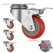 "Set of 4 Heavy Duty Swivel Casters with Lock Brakes 3"" Polyurethane Wheels"