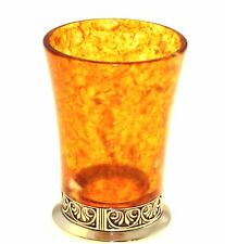 Natural Baltic Amber and bronze. Glass shot. GS10