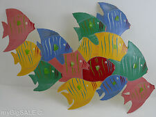 Colorful School of Marine Fish Metal Wall Art Nautical Decor Painted Sculpture
