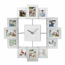 VonHaus Brushed Aluminium Photo Frame Clock - Holds 12 Photos & Includes 2