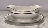 Vintage Crooksville Stinthal Sauce / Gravy Boat Attached Underplate Gold Bands