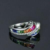 Engagement Fashion Topaz Party Jewelry Women Ring Wedding 18K White Gold Rainbow