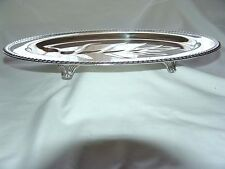 """Wm ROGERS SILVER FOOTED MEAT SERVING TRAY TREE WELL GADROON  BORDER # 810  16""""L"""