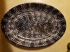 "Vintage Roma, Inc.Lg 16"" Black/White Spongeware Serving Platter"