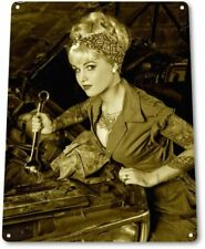 Pick Up Pinup Girl Sexy Hot Rod Car Garage Auto Shop Cave Wall Decor Metal Sign