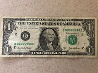 "LOW SERIAL NUMBER ""B 0000 5980 D"" SERIES 2003A $1 Dollar Bill w/ SOLID QUAD L✯✯K"
