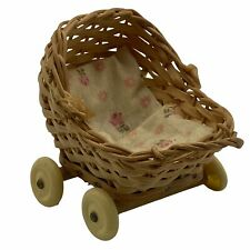 Vintage Dollhouse Miniature Wicker Baby Stroller Made in Germany