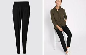 Ladies Ex M&S Plus Size Jersey Tapered Leg Pull On Trousers Black UK30 NEW BE1