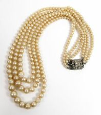 Vintage Triple Strand Glass Pearl Necklace Sterling Silver & Rhinestone Clasp