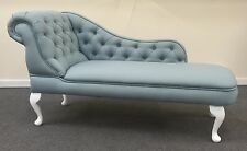 Designer Traditional Chaise Longue in Duck Egg Blue linen Fabric NEW