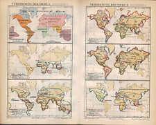 Landkarte map 1890: VERBREITUNG DER TIERE. Säugetiere Affen Fledermäuse