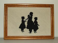 Antique Framed Embroidery Victorian Black & White Silhouette Tapestry Sampler