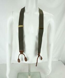 Trafalgar Stretch Woven/Leather Suspenders Braces Green/Brown/Gold