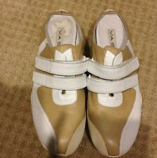 Via Spiga Tan And White Designer Leather Mules Sz. 5 1/2 EUC