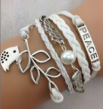 NEW Hot Retro Infinity Peace Wing Birds Leather Charm Bracelet plated Silver !!!