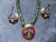 Turquoise Purple Mojave Copper Sterling Silver Earrings Necklace by Running Bear