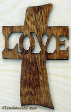Love Cross, New Handmade Wood, for Wall Hanging or Ornament, Item S4-6