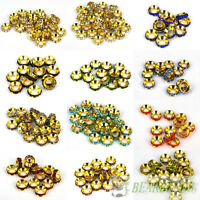 Big Hole Crystal Rhinestones Gold Rondelle Spacer Beads 10mm Fit European Charm