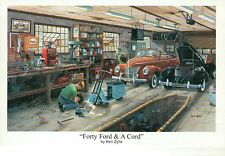 """"""" Forty Ford & A Cord """" by Ken Zylla, Car, Auto Garage - Art Print, NOT Postcard"""