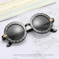 Cute Kids Little Bee Sunglasses Children Glasses Round Frame Letter Shades UV400