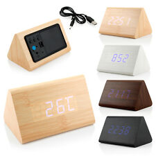 Классическая треугольные синие цифровые светодиодные дерева деревянный стол будильник термометр