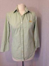 Superdry mint green/white striped shirt size M (10-12)