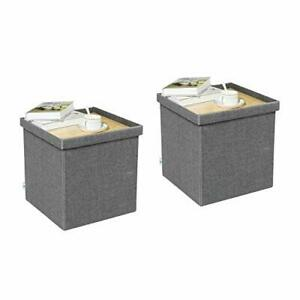 Storage Ottoman with Tray, Linen Small Coffee Table Folding Grey-square-double