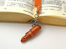 Fountain pen Leather Charm Bookmarker *VANCA* Made in Japan #61569