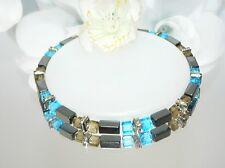 Armband Perlen Hämatit Rechteck schwarz Glas würfel türkis grau Strass 066f