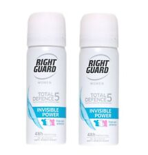 2X Right Guard Women TD5 INVISIBLE 48h Protection Spray 50ml Travel Size