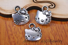 20s 12*11mm cat Pendant Charm style Tibet silver diy jewelry making beads 7082