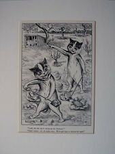 1911 LOUIS WAIN CAT PRINT PIG EATING CHICKENS BOOK ILLUSTRATION