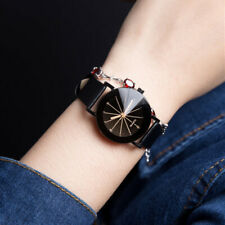 Women's Date Leather Stainless Steel Analog Military Quartz Wrist Watch