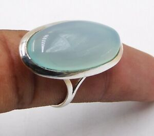 6 Gm Lab-Created Aqua Chalcedony Ring 925 Solid Sterling Silver 7.8 US K-2263
