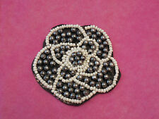 Ivory, grey & black Jewellery beads floral applique / evening gown lace motif