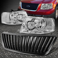 CHROME HEADLIGHT+CLEAR CORNER LIGHT+FRONT GRILLE GUARD FOR 03-06 FORD EXPEDITION