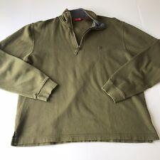 IZOD Mens Medium Green Long Sleeve 1/4 Zip Pull Over Sweatshirt OO2