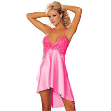 Women Sexy Sleepwear Nightgown Satin Silk Babydoll Lace Robes Sleep Dress HIGH