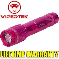 VIPERTEK VTS-T03 Metal 900 MV Stun Gun Rechargeable LED Light Taser Case Pink