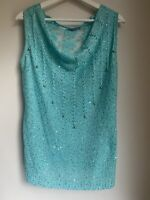 TURQUOISE SEQUIN TOP SPARKLY M/L 14 HOLIDAY CLUB PARTY GLAM FASHION TOWIE CHIC