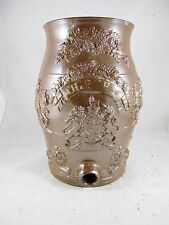SALTGLAZE POTTERY 2 GALLON WHISKY BARREL, ENGLISH COAT OF ARMS C1840'S