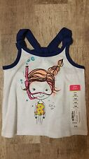 Okie Dokie Girl Scuba Diver Diving White Tank Top Shirt Baby Girl Size 12 Months