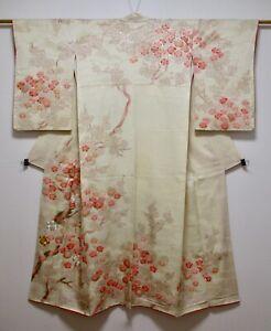 JAPANESE KIMONO SILK HOUMONGI / UME TREE / KINKOMA EMBROIDERY / SILK FABRIC
